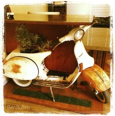 Vespa Scooter Repurposed Into Mod Office Desk, (complete with planter) by Benjamin Bullins