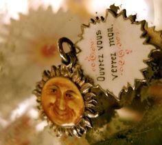 Silver French Enamel Sun Slide Locket Charm
