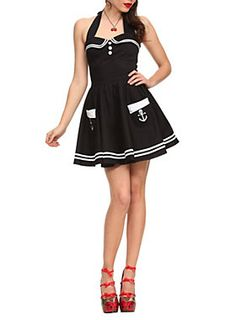 Black halter dress with sweetheart neckline, white buttons, embroidered skull anchor pockets, white trim and back zip closure.