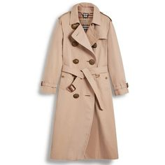 Women's Burberry Eastheath Bird Button Cotton Trench Coat (135.075 RUB) ❤ liked on Polyvore featuring outerwear, coats, honey, cotton coat, burberry coat, double breasted coat, trench coats and pink double breasted coat