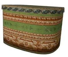 Mid century wallpaper covered hat box or bandbox Boston, Massachusetts. Measurements are tall x long x tall Antique Boxes, Antique Shops, Country Treasures, Antique Wallpaper, Band Wallpapers, Wall Boxes, Braided Rugs, Boston Massachusetts, Folk Fashion
