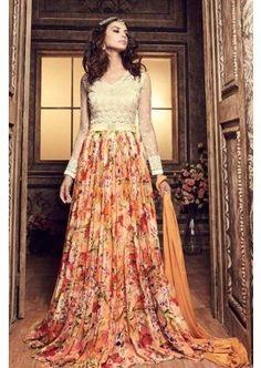 Multi Colour Chiffon Anarkali Suit, - £111.00, #Dresses #Fashion #Designer #Shopkund