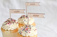 Hooray wood cupcake toppers #party