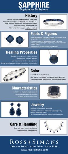 Learn about the history, facts, healing properties, color, characteristics and how to care for September's Birthstone, Sapphire.