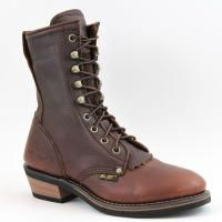 Ad Tec 8in Womens Western Packer Tumble Leather Chestnut Work Boots