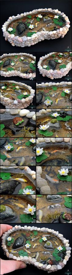 Commission for a large stone pond with 9 koi fish one frog two turtles and water lilies. Details: The pond base was sculpted from polymer clay and is at the widest part. The koi fish frog t. Resin Crafts, Resin Art, Clay Art, Fun Crafts, Polymer Clay Charms, Polymer Clay Creations, Crea Fimo, Miniture Things, Fairy Houses