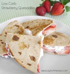 Low Carb Strawberry Quesadilla - a sweet treat with only four ingredients! from KetoDiet: low-carb, keto, paleo and primal recipes http:. Low Carb Sweets, Low Carb Desserts, Low Carb Recipes, Primal Recipes, Healthy Recipes, Sugar Free Desserts, Sugar Free Recipes, Dessert Recipes, Keto Foods