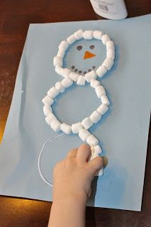 Preschool Christmas Craft … Mini Marshmallow Snowman … I would allow the kids … - Christmas Crafts Preschool Christmas Crafts, Daycare Crafts, Toddler Crafts, Holiday Crafts, Holiday Fun, Fun Crafts, Preschool Winter, Winter Craft, Snowman Crafts