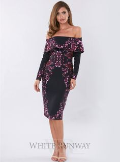 Eminence Midi. A gorgeous midi dress by Pasduchas. An off shoulder style featuring a floral print and long sleeves.