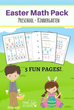 Easter Math Worksheets Packet for Preschool and Kindergarten Students | Real Life at Home #Easter #EasterWorksheets #EasterMath #SpringMath