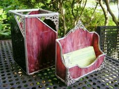 Items similar to Pen Holder to match your Business Card Holder (Glass featured no longer available) on Etsy Stained Glass Ornaments, Stained Glass Projects, Fused Glass Art, Stained Glass Patterns, Mosaic Glass, Glass Office, Glass Desk, Glass Boxes, Stained Glass Panels
