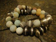 Stretch Bracelet, Stacking Bracelet, Bohemian Bracelet, Mixed stone Bracelets,African Metal Beads Bracelet, Boho Bracelet,Amazonite Bracelet by NatnatCreations on Etsy