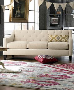 Chloe Fabric Velvet Metro Sofa Living Room Furniture Collection - Living Room - For The Home - Macy's