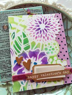 Stenciled Valentine Valentine Cards, Valentines, Gossamer Blue, Honor Roll, Pigment Ink, Cardmaking, Card Stock, Stencils, Scrapbook
