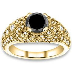 PricePointShop presents 0.50ctw Round Brilliant A Quality Black Color Diamond with Accent Stone Black Diamonds Engagement Ring. Appraisal Certificate Included. #diamondEngagementRings #EngagementRings #Rings  #jewelry #yellowgoldrings #WeddingRings @pricepointshop http://www.pricepointshop.com/product.asp?idproduct=39259