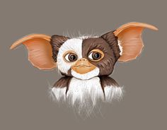 Digital art, sketch, illustration of Gizmo from the 80's classic, Gremlins - by Shelly Gillis