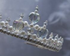 Pretty Pearl and Crystal Flower Girl Tiara Alice Band, Princess Tiara, Tarnished Silver, Large Crystals, Plastic Beads, Crystal Flower, Daughter Love, Little Princess, Pretty Little