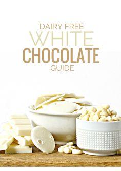 Dairy Free White Chocolate Guide - Fork and Beans Vegan Candies, Vegan Treats, Vegan Foods, Vegan Dishes, Vegan Desserts, Vegetarian Sweets, Dairy Free White Chocolate Chips, Vegan White Chocolate, White Chocolate Recipes