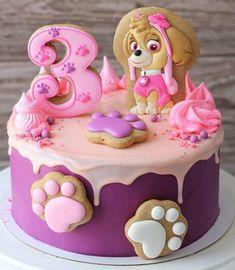 Paw Patrol Party Ideas for Girls Paw Patrol Sky Cake, Girls Paw Patrol Cake, Bolo Do Paw Patrol, Paw Patrol Torte, Paw Patrol Birthday Girl, Birthday Cake Girls, Paw Patrol Skye, 3rd Birthday, Birthday Ideas