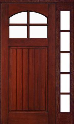 4-Lite Mahogany Door with One Full View 5-Lite Sidelight & Optional Dentil Shelf
