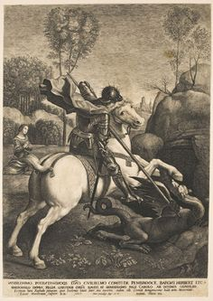 St. George and the Dragon  Made in London, England, Europe  1627  Lucas Emil Vorsterman I, Flemish, 1595 - 1675. After Raphael (Raffaello Santi), Italian (active central Italy), 1483 - 1520.