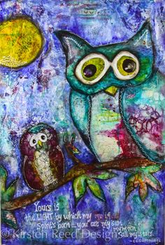 You are My Moon by Kirsten Reed Mixed media Owls with acrylic on canvas