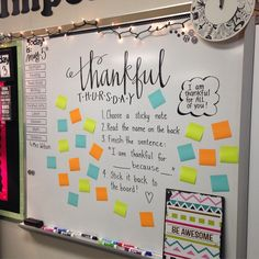 This morning message is a great interactive way to enourage students to think of what they are thankful for. It also allows students to see what other classmates are thankful for. Classroom Activities, Classroom Organization, Classroom Ideas, White Board Organization, Classroom Management, 4th Grade Classroom Setup, High School Classroom, Classroom Design, Teaching Activities