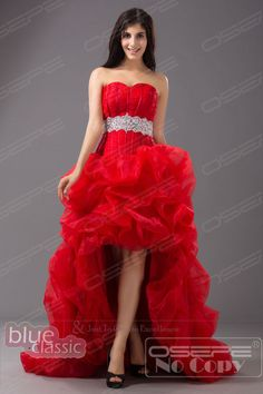 Rouge haut bas robe de mariee tenue de soiree robe de cocktail Party Bridal  Gown 65a58e09fb19