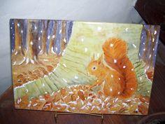 Placa de porcelana :Ardilla ,pintada a mano ,todo plumín y relieve,por ArtesAna ...