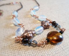 Extra Long Copper And Glass Bead Necklace by TundraAndTaiga