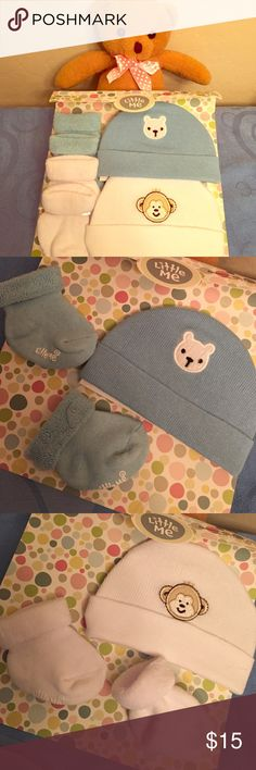 HP 1/1 Infant Set--2 Beanies+2 Prs of Socks ✌️Everything Kids Party HP 1/1/17✌️ Authentic Little Me Gift Set-2 Beanies Plus 2 Pairs of Terry Socks. Cuffed Beanies & Socks that you can wear Up or Down. Comes in its original Gift Package. 0-6 Months. 1-Blue Bear Beanie with Matching Socks. 2-White Monkey Beanie with Matching Socks. Ribbed Knit Beanies have Solid Backs. Little Me White Grippy Graphics are on each Sock. Beanies are both 65% Cotton/35% Nylon. Brand New. Excellent Condition. No…