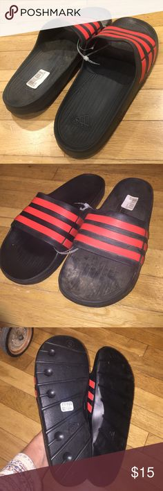 "Adidas Flip Flops Adidas flip flogs. Kind of an older model ""vintagey"" maybe the 90s or early 2000s. My closet tends to sell out fast so make an offer while you can. Open to all offers Adidas Shoes Sandals & Flip-Flops"