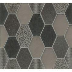 Bedrosians Retro Hexagon Pattern Mosaic Mohair Stone and Glass Tile (Box of 11 Sheets) (Velvet), Brown Ceramic Subway Tile, Ceramic Mosaic Tile, Stone Mosaic Tile, Marble Mosaic, Mosaic Glass, Hexagon Pattern, Hexagon Shape, Rectangle Shape, Best Floor Tiles