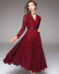 #AdoreWe #VIPme Swing Dresses - Designer Ewheat Wine Lace Jacquard V-neck Wasp-Waist Swing Dress - AdoreWe.com