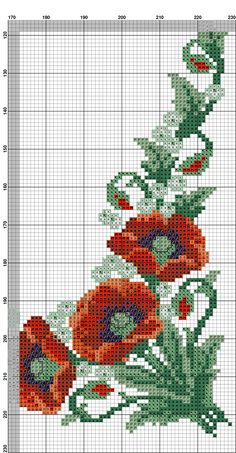 Cross Stitch Owl, Cross Stitch Flowers, Cross Stitching, Cross Stitch Patterns, Hardanger Embroidery, Cross Stitch Embroidery, Poppies, Needlework, Diy Crafts