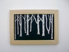 Night Birch ORIGINAL SCRATCHBOARD 4 x 6 in a frame by MikeKrausArt