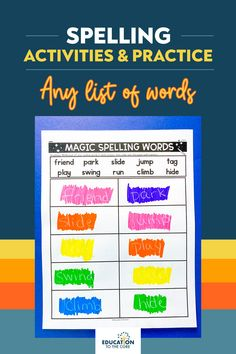 """🤩Are you ready to perform some MAGIC in your classroom? 👏You can now add """"Magician"""" to your bag of tricks among the many hats we wear. 🎩Have your students practice some spelling magic with the amazing resource! Create over 60 different spelling activities in minutes with our amazing Editable Spelling Activity bundle. Spelling Activities, Vocabulary Activities, Play Swing, Spelling Words, Phonemic Awareness, Morning Work, Word Work, The Magicians, Students"""