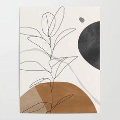 Abstract Art /minimal Plant Art Deco Poster by Thingdesign - X Industrial Wall Art, Plant Art, Plant Stem, Canvas Prints, Art Prints, Diy Canvas Art, Minimalist Art, Art Plastique, Modern Art