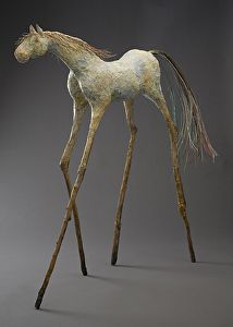 Unbridled Spirit -The Traveler by Mindy Z. Colton, Mixed Media, 38 x 35 x 9 Paper Mache Sculpture, Pottery Sculpture, Horse Sculpture, Animal Sculptures, Paper Sculptures, Sculpture Ideas, Spirited Art, Unicorn Art, Paperclay