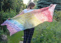 Cobweb felted scarf pastel rainbow light shawl unique por filcAlki