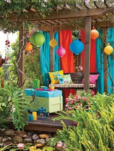Home design, Bohemian Small Pergola Design For Fun Garden Decor Ideas With Adorable Color Lanterns And Velvet Draperies: Wonderful Backyard Garden Decor Ideas with Seating Space Outdoor Curtains, Outdoor Rooms, Outdoor Gardens, Outdoor Living, Outdoor Seating, Outdoor Life, Canopy Curtains, Luxury Curtains, Elegant Curtains