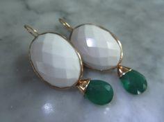 TOM K Earrings Vintage Mix &Match Hooks Onyx Green Pearl Tahiti  Smoky Ballroom Bride Briolett Drops Beads Gold Citrin
