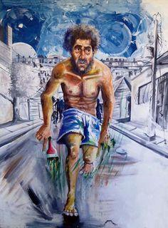"""Manolo el Pintor del Barrio. 40x52 pulg., Óleo sobre tela, Domingo Guzmán, 2011. Inspirado en el cuento """"Círculos Concéntricos"""" de escritor Orlando Alcántara."""