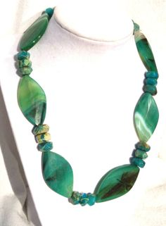 Necklace of blue green Magnesite stones with black by OTRjewelry, $55.00