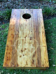 Custom Engraved Cornhole Board, so cute would just do a big K though.