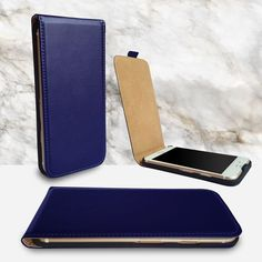 iPhone 7 cover – leather flip click design navy w/ FREE glass screen protector