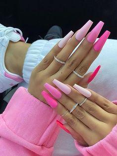 Neon Pink Nails, Cute Pink Nails, Bling Acrylic Nails, Acrylic Nails Coffin Short, Square Acrylic Nails, Best Acrylic Nails, Gel Nails, Pink White Nails, Pink Holographic Nails