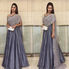 Indian bridal dupatta draping 25 ideas for 2019 Party Wear Indian Dresses, Designer Party Wear Dresses, Indian Gowns Dresses, Indian Fashion Dresses, Dress Indian Style, Indian Wedding Outfits, Indian Designer Outfits, Indian Outfits, Fashion Outfits
