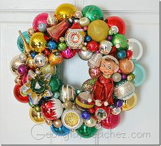 A wonderful use for retro christmas decorations!!! Bebe'!!! Love this vintage ornament wreath!!!