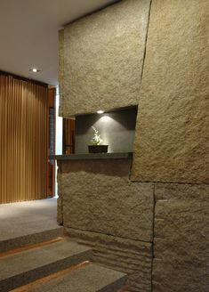 """Beautifully Constructed House with """"Garden in The House"""" Concept – Sunset Vale House - The Great Inspiration for Your Building Design - Home, Building, Furniture and Interior Design Ideas Stone Cladding, Wall Cladding, Stone Interior, Interior Walls, Architecture Details, Interior Architecture, Japanese Interior, Brick And Stone, Stone Walls"""